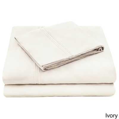 Deep Pocket Bed Sheet Set - Queen, Ivory - Overstock