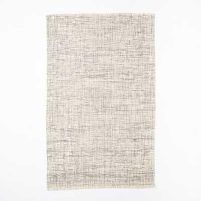 Mid-Century Heathered Basketweave Wool Rug - Steel - 5' x 8' - West Elm
