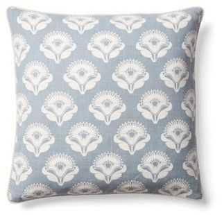 Poppy 18x18 Cotton Pillow, Blue - One Kings Lane