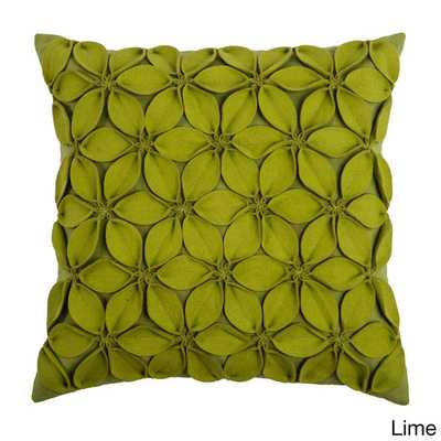 """Rizzy Home 18"""" Throw Pillow- Lime-Polyester fill insert - Overstock"""