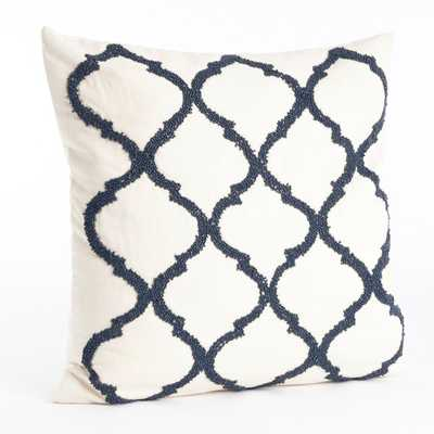 """Moroccan Beaded Cotton Throw Pillow - 18"""" H x 18"""" W x 7"""" D  - Champagne - Down/Feather - Wayfair"""