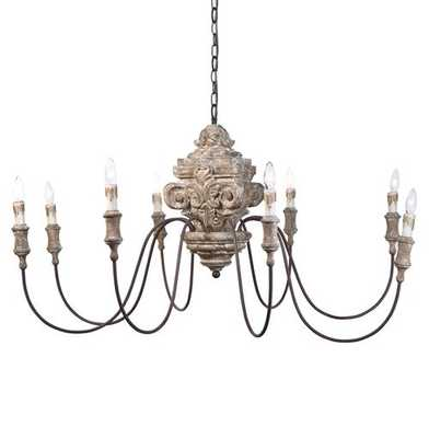 Ravel French Country Carved Wood 8 Light Chandelier - Kathy Kuo Home