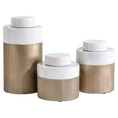 Grimes Modern Classic White Champagne Tea Jars - Set of 3 - Kathy Kuo Home