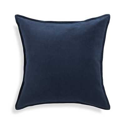 "Brenner Indigo Blue 20"" x 20"" Velvet Pillow with Feather-Down Insert - Crate and Barrel"