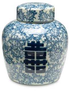 "9"" Jolie Jar, Blue/White - One Kings Lane"