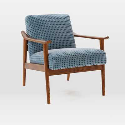 Mid-Century Show Wood Upholstered Chair - Aegean Blue - West Elm