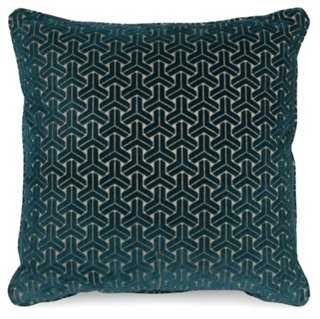 "Varro 19.5"" Pillow, Teal-with insert - One Kings Lane"