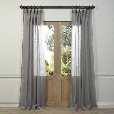 """Signature Grey Sheer Curtain Panel-50""""W x 120""""L - Overstock"""