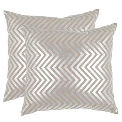 Safavieh Elle Silver 22-inch Square Throw Pillows (Set of 2) - Overstock