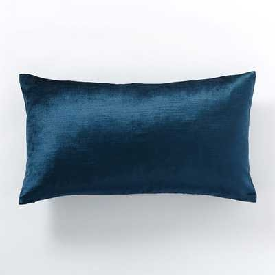 "Cotton Luster Velvet Pillow Cover - Regal Blue - 12"" x 21"" - Insert sold separately - West Elm"
