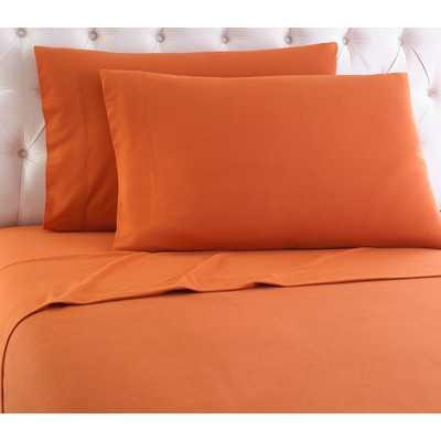 Micro Flannel® Queen Sheet Set - Terracotta - Wayfair