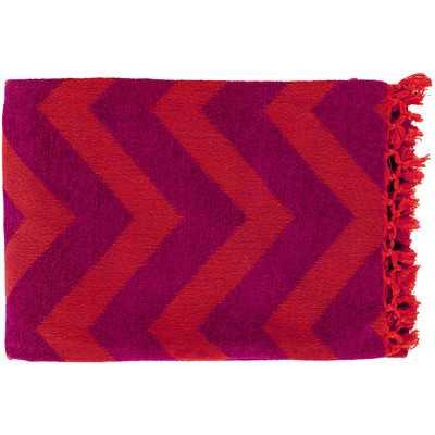 Thacker Cotton Throw Blanket - Plum/Tangerine - Wayfair