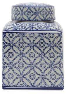 Short Auhert Jar, Blue/White - One Kings Lane