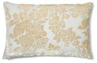 Floral 12x18 Velvet Pillow, White/Beige - One Kings Lane