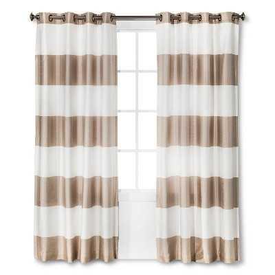 "Thresholdâ""¢ Bold Stripe Curtain Panel- 84""-Tan - Target"