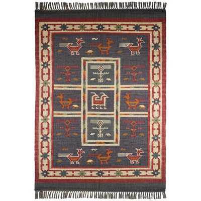 Hand Woven Blue Tribal Wool and Jute (9 x 12') - Overstock