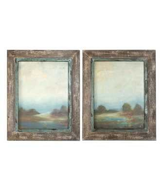 "Morning Vistas Framed Oil Reproduction - Set of 2 - 31"" x 25""- Framed(Off-white and taupe ) - Bliss Home and Design"