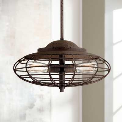 "Metal Cage 18"" Wide Dark Rust Industrial Pendant Light - Lamps Plus"
