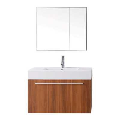 Virtu USA Midori Plum Integral Single Sink Bathroom Vanity with Polymarble Top (Faucet Included) - Lowes