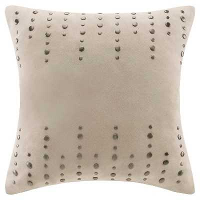 "Silver Stud Suede Square Pillow - Tan - 20""SQ - Insert Included - Target"