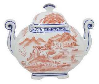 "9"" Toile Ceramic Jar w/ Handles, Coral - One Kings Lane"