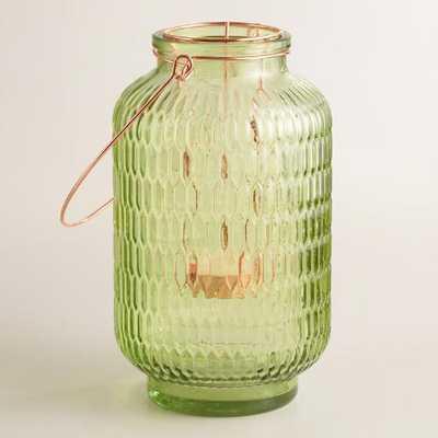 Small Green Textured Glass Aria Lantern - World Market/Cost Plus