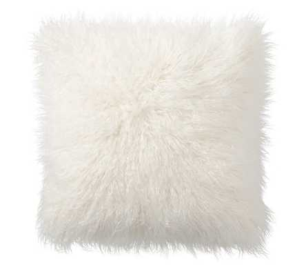 Mongolian Faux Fur Pillow Cover - 26x26 - Ivory - Insert Sold Separately - Pottery Barn