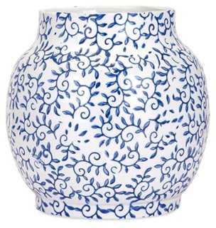 """9"""" Beaufort Vase, Blue/White - One Kings Lane"""