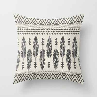 """Tribal Feathers-Black & Cream - 18"""" x 18"""" - Insert Included - Society6"""
