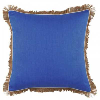 Royal Blue Linen With Oyster Pipe & Jute Fringe Pillow 24 X 24 In- Feather/Down insert - graciousstyle.com