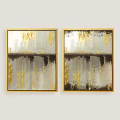 "Neutral Horizon Canvas Wall Art - Set of 2 - 17.5""W x 21.5""H - Gold Frame - World Market/Cost Plus"