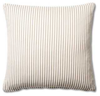 Ticking 20x20 Cotton Pillow, Brown - Down/feather insert - One Kings Lane