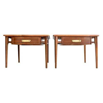 Lane Mid-Century Walnut End Tables - A Pair - Chairish