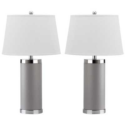 """Leather Column 26"""" H Table Lamp with Empire Shade  -Grey - AllModern"""