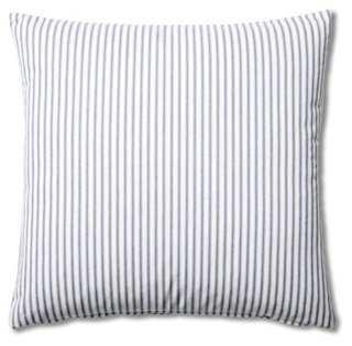 Ticking 20x20 Cotton Pillow, Blue - One Kings Lane