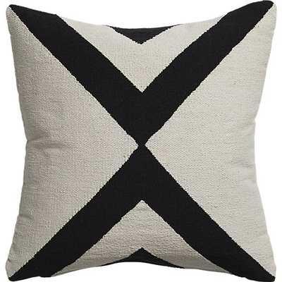 "Xbase 23"" Ivory/Black pillow with down-alternative insert - CB2"
