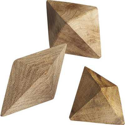 Set of 3 wood shapes - CB2
