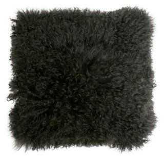 Mongolian 16x16 Lamb Pillow, Charcoal, insert - One Kings Lane