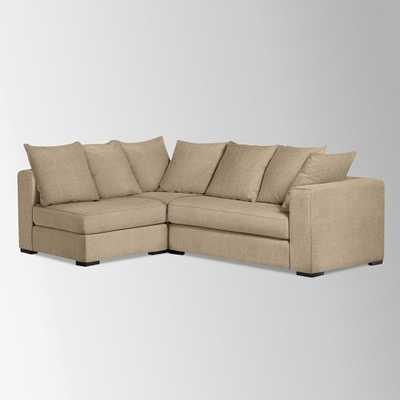 Walton Right Facing 3-Piece Sectional - Pebble Weave, Burlap - West Elm