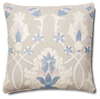 Antique Floral Embroidery Pillow - One Kings Lane