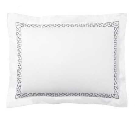 AVERY EMBROIDERED SATEEN SHAM - STANDARD - Pottery Barn
