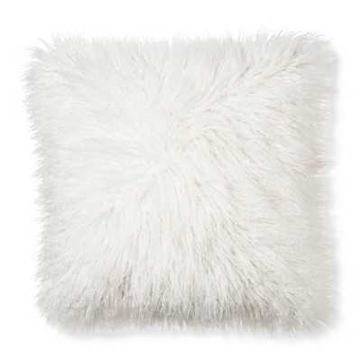 "Mongolian Fur Decorative Pillow - Cream, 18""Sq, Polyster insert - Target"