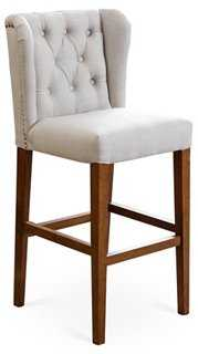 Abe Tufted Wing Counter Stool, Ivory - One Kings Lane