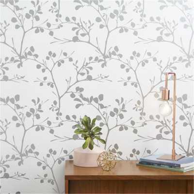 Lilt silver self-adhesive wallpaper - CB2