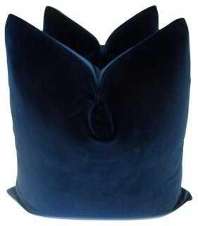 Belgian Sapphire Velvet Pillows, Pair - One Kings Lane