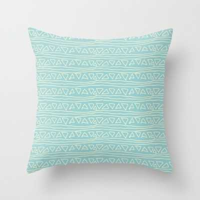 Blue Scribbles Pillow - 16x16, With Insert - Society6