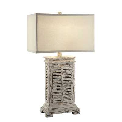 """Antique Shutter 31"""" H Table Lamp with Rectangular Shade by Crestview - Wayfair"""