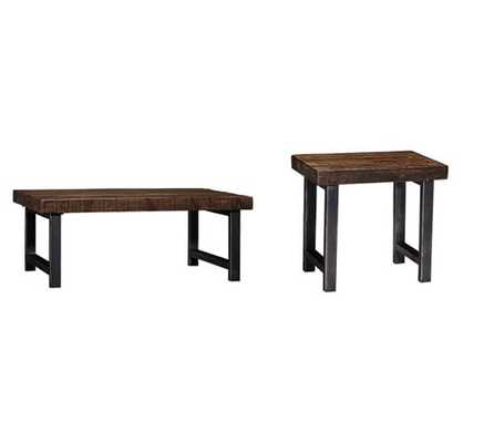 "Griffin Reclaimed Wood Side Table - 2 SIDE & 1 48"" COFFEE TABLE SET - Pottery Barn"