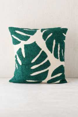 """Assembly Home Crewel Palms Pillow- Green- 18"""" x 18"""" - Urban Outfitters"""