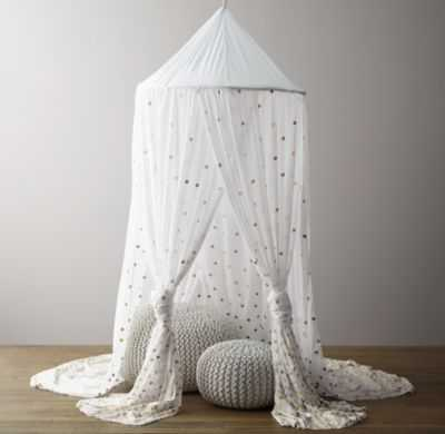 metallic printed cotton voile play canopy - RH Baby & Child